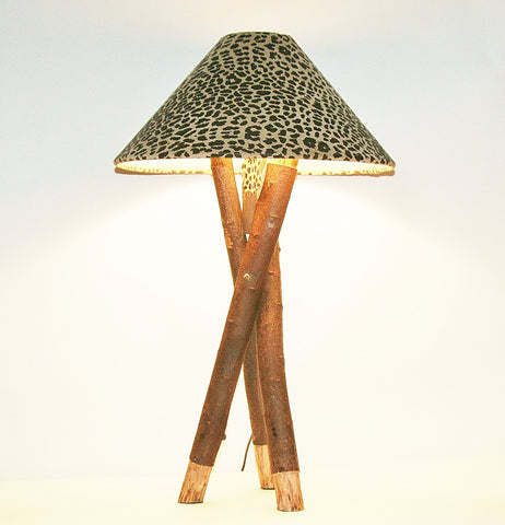 "African Table Lamp Leopard Design Suede Goatskin Shade Rescued Wood 26.5"" H"