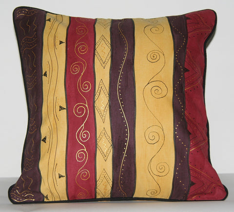 African Scrolls Pillow Cover Tribal Hand Painted Tribal Brown, Gold, Wine, Yellow Cushion Cover