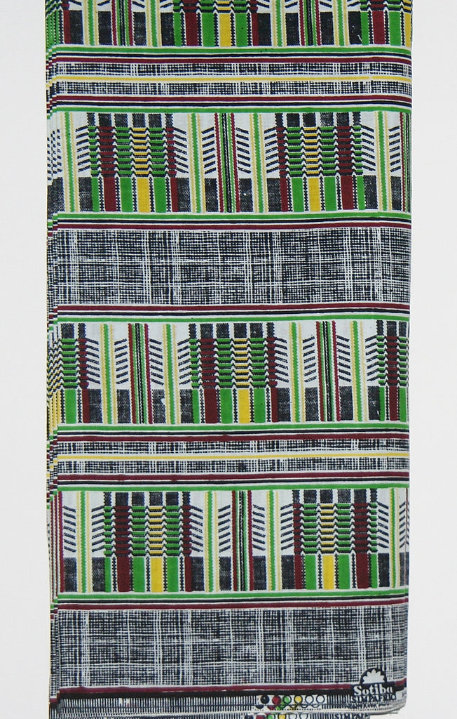 African Fabric 12 Yards Classic Sotiba Senegal, Green, White, Wine, Yellow, Black African Ankara - Cultures International From Africa To Your Home