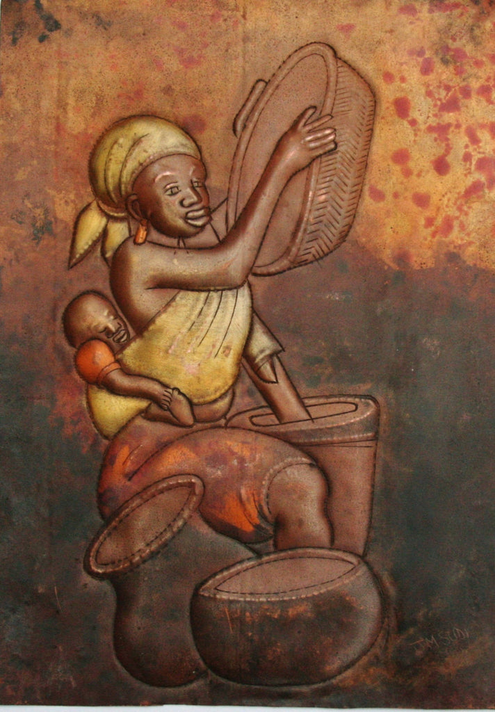 "African Copper Relief Art Tribal Mother Preparing Pots Baby on Back 10.5""H X 7.5""W Vintage Handcrafted in the Congo"
