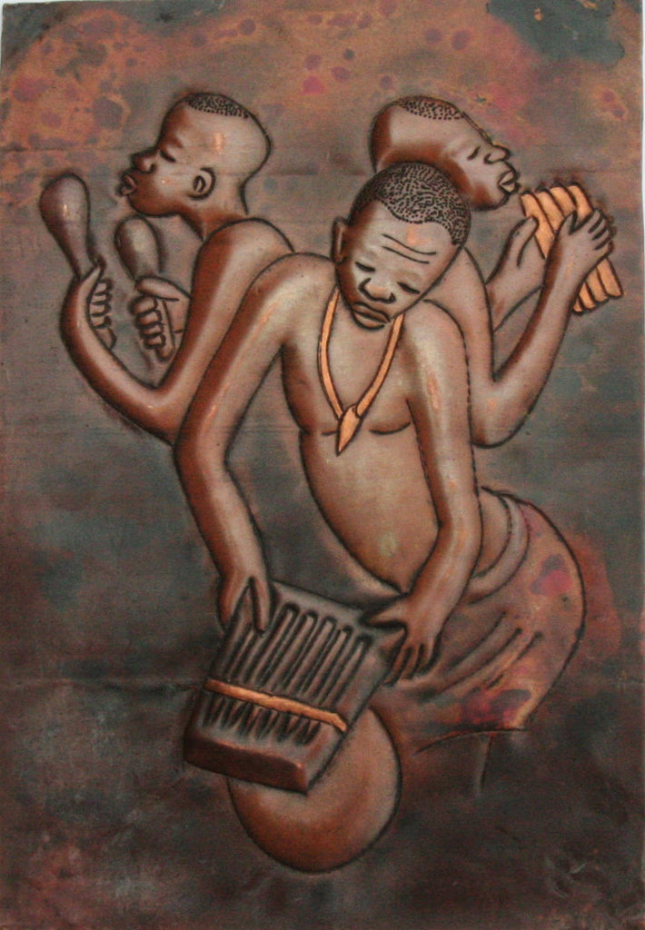 "African Copper Relief Art Three Tribal Musicians 8""H X 5.5""W Vintage Handcrafted in the Congo - Cultures International From Africa To Your Home"