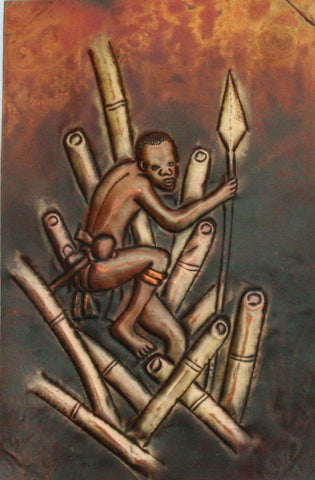 "African Copper Relief Art Hunter in Reeds With Spear 8""H X 5.25""W Vintage Handcrafted in the Congo"