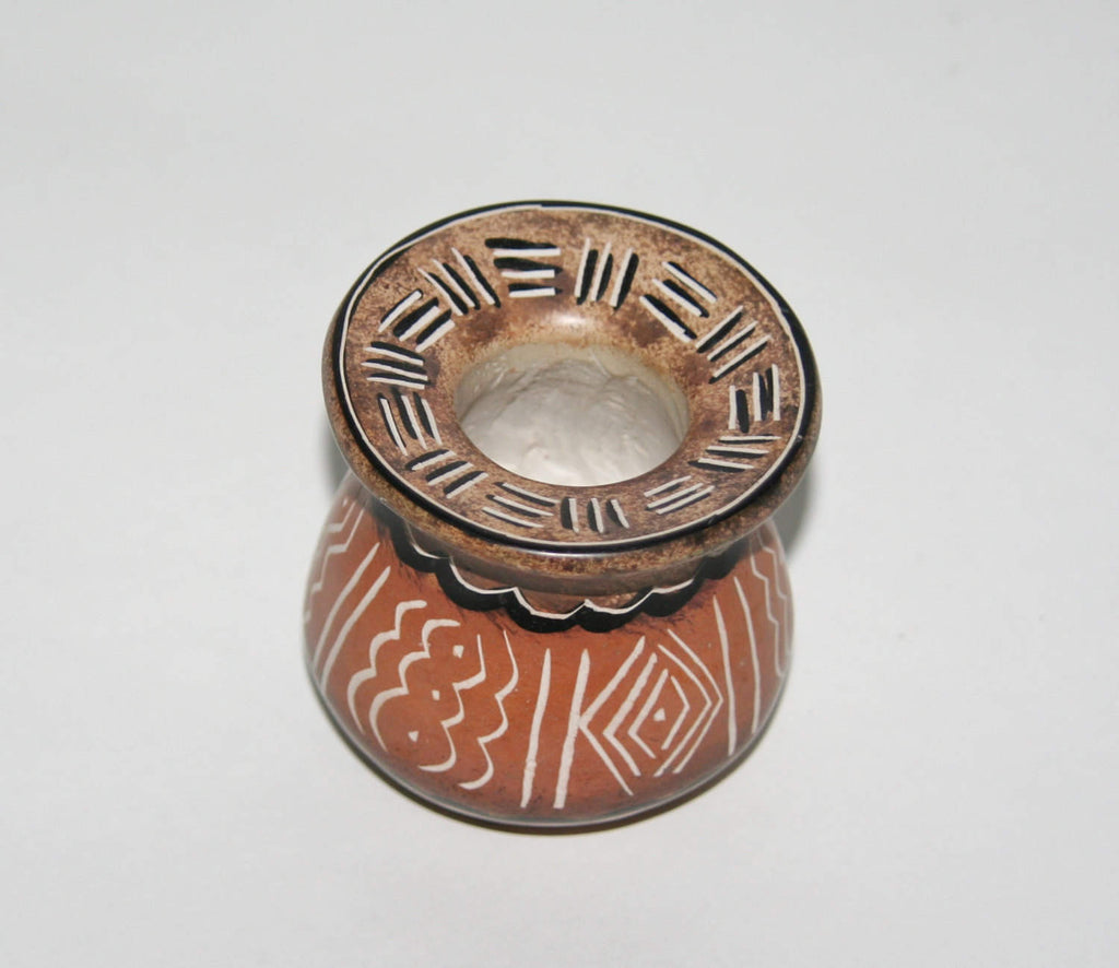 "African Vase Soapstone Pottery Tribal Designs Etched in Burnished Browns Kenya 3""H X 2.5""D X 9""C"