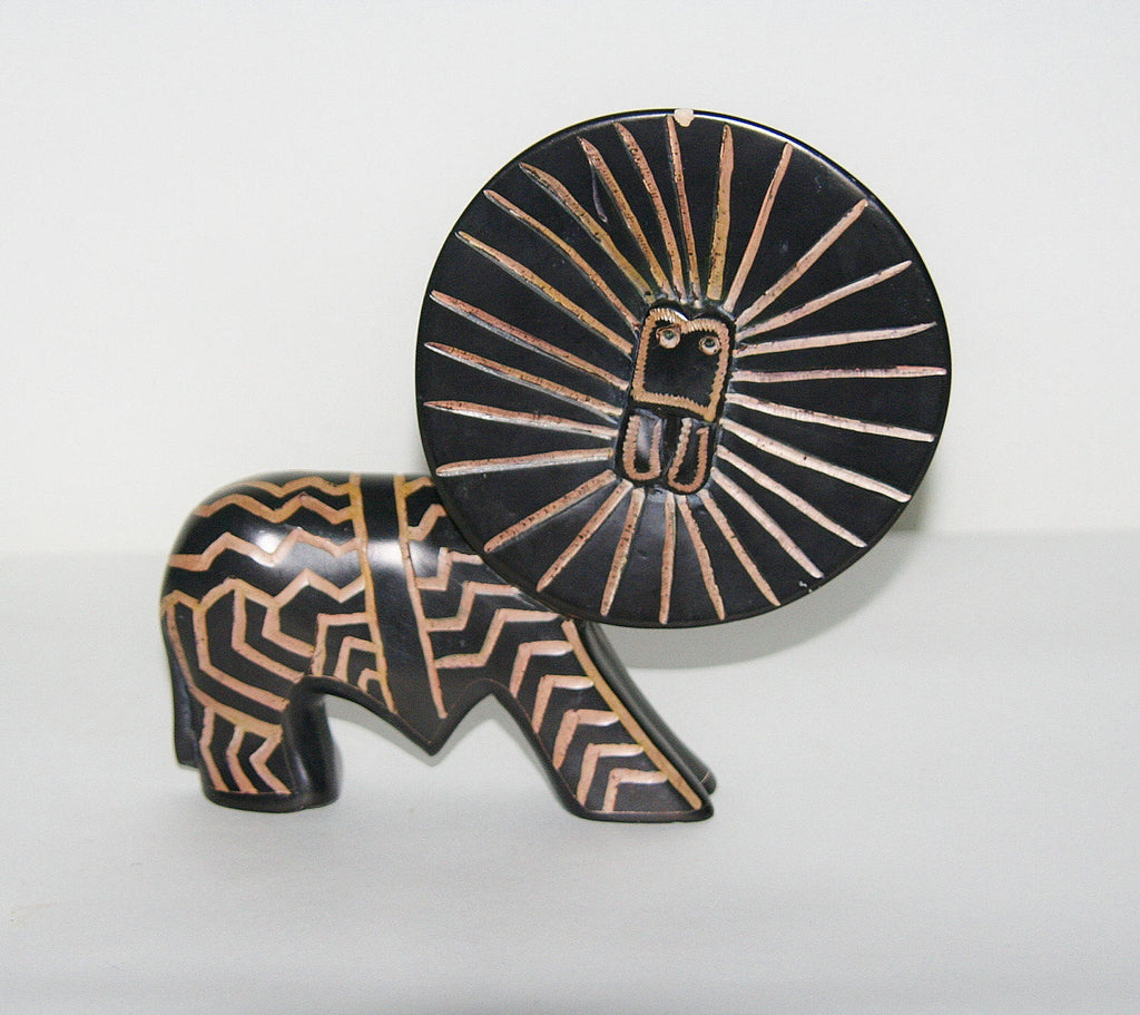 "African Lion Sculpture Abstract Soapstone Handcrafted in Kenya 7""H X 7""W - Cultures International From Africa To Your Home"