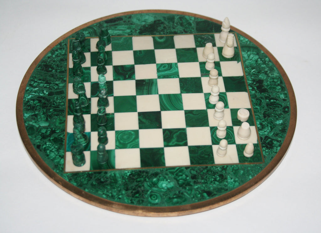 "African Malachite and Bronze Chess Set Authentic Rare Circular Vintage 11""D X 32.5""C - Cultures International From Africa To Your Home"