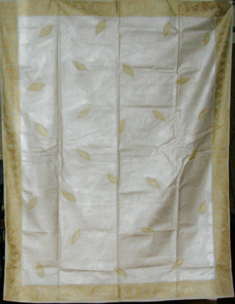 "African Tapestry/Tablecloth Ivory, Gold, White Tribal Diamond Design 58"" X 76"" - Cultures International From Africa To Your Home"