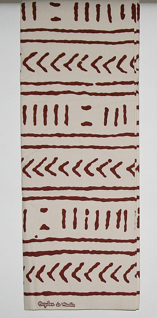 African Fabric 6 Yards Mudcloth Bogolon de Woodin, Ivory White, Sepia Brown Vlisco Classic - Cultures International From Africa To Your Home