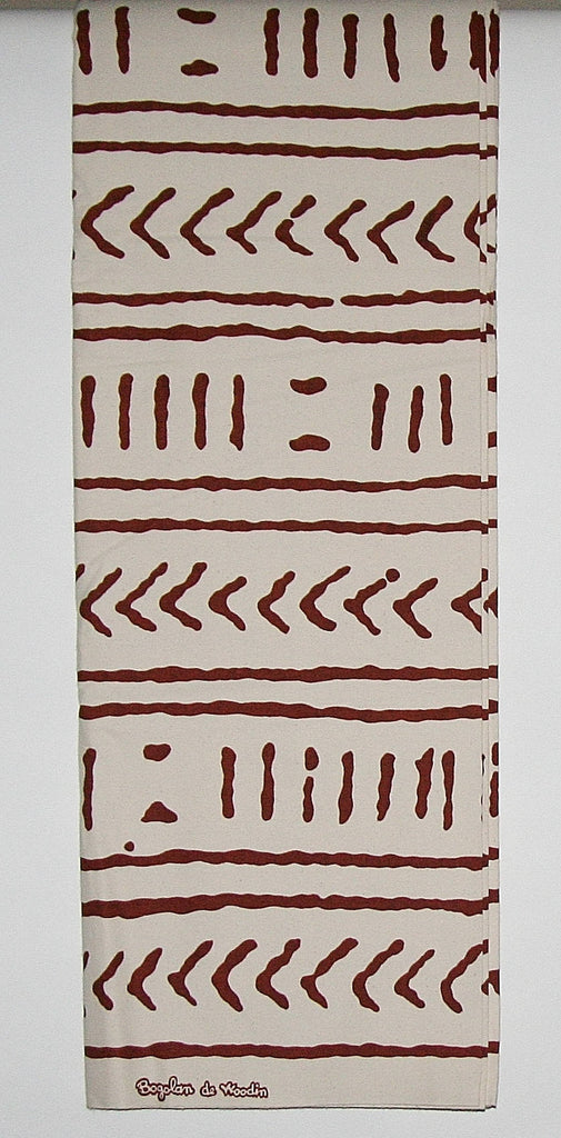 Mudcloth Fabric 6 Yards Classic African Vlisco Bogolon de Woodin, Ivory White, Sepia Brown - Cultures International From Africa To Your Home