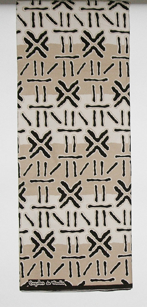 African Fabric 6 Yards Mudcloth Design White, Beige, Brown Bogolon de Woodin Vlisco Classic - Cultures International From Africa To Your Home