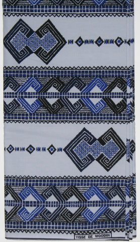 African Fabric 6 Yards Vlisco Classic Couleurs de Woodin Geometric Blue