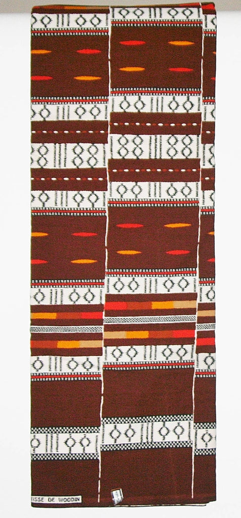 African Fabric 6 Yards Vlisco Classic Tisse De Woodin Colors Maroon, Orange, White, Black Red Yellow Geometric Patterns - Cultures International From Africa To Your Home