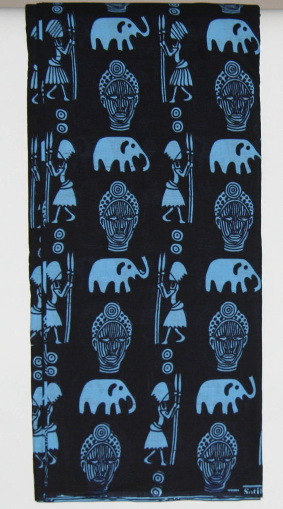 Sotiba Classic African Fabric 8 Yards, Blue Masks, Elephants, Hunters with Spears Vintage Made in Senegal