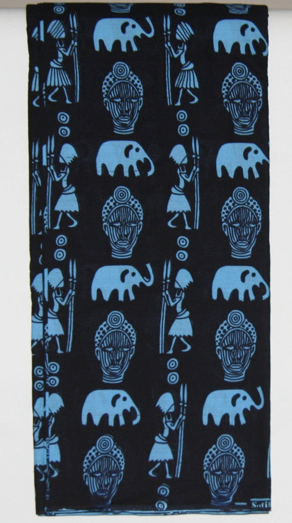 African Fabric 8 Yards Blue on Black Elephants, Masks, Elephants, Hunters with Spears Vintage Sotiba Made in Senegal - Cultures International From Africa To Your Home