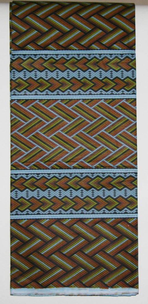African Fabric 6 Yards Vlisco Classic Couleurs de Woodin Geometric and Bamboo Design in Colors of Pale Blue Gold Copper Yellow Black - Cultures International From Africa To Your Home
