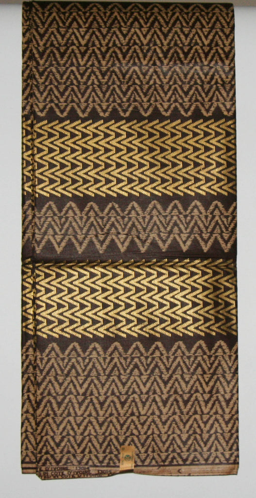 Vlisco Uniwax African Fabric 6 Yards Ivory Coast Colors Chocolate Beige Gold - Cultures International From Africa To Your Home