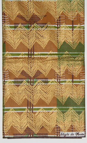 6 Yards African Fabric Vlisco Classic Style de Woodin, Colors of Gold, Brown Forest Green, Cranberry Red - Made in Cote D'Ivoire
