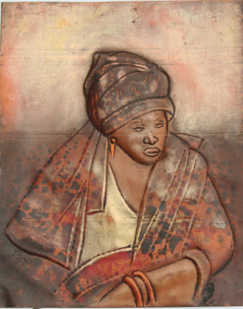 "African Copper Relief Art Serene Lady  7.5""H X 6""W Vintage Handcrafted in the Congo - Cultures International From Africa To Your Home"