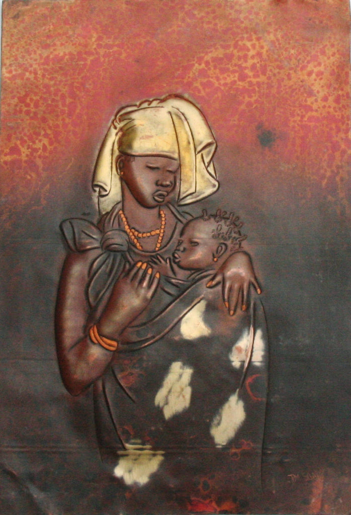 "African Copper Relief Art Tribal Mother and Child  12""H X 8.25""W Vintage Handcrafted in the Congo"