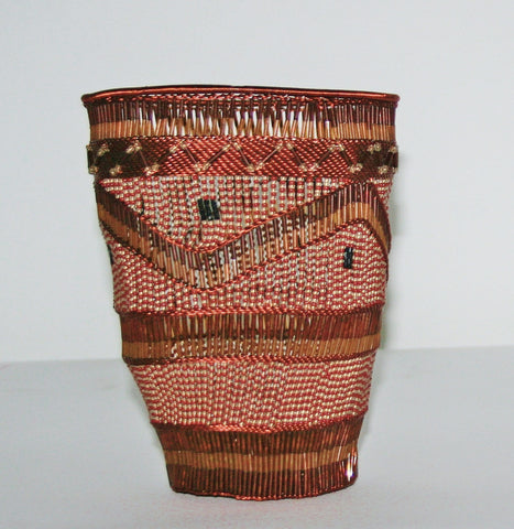 "African Copper Basket Open Copper Wire and Glass Beads, Copper, White, Brown  4.5""D X 6""H South African Zulu Bowl Art"