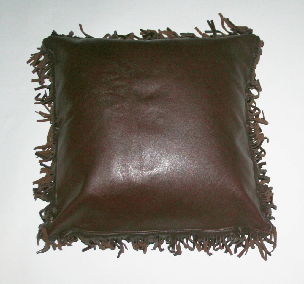 Leather & Suede Pillow Cover Fringe Chocolate Color Full Grain - Cultures International From Africa To Your Home