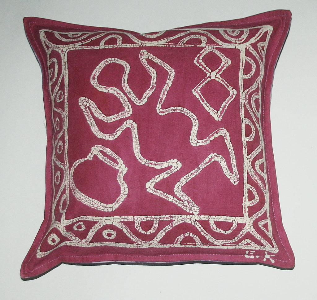 "African Batik Pillow Abstract Tribal Mauve White Purple 18"" X 18"" - Cultures International From Africa To Your Home"