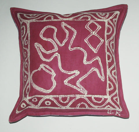 "African Batik Pillow Abstract Tribal Mauve White Purple 18"" X 18"""