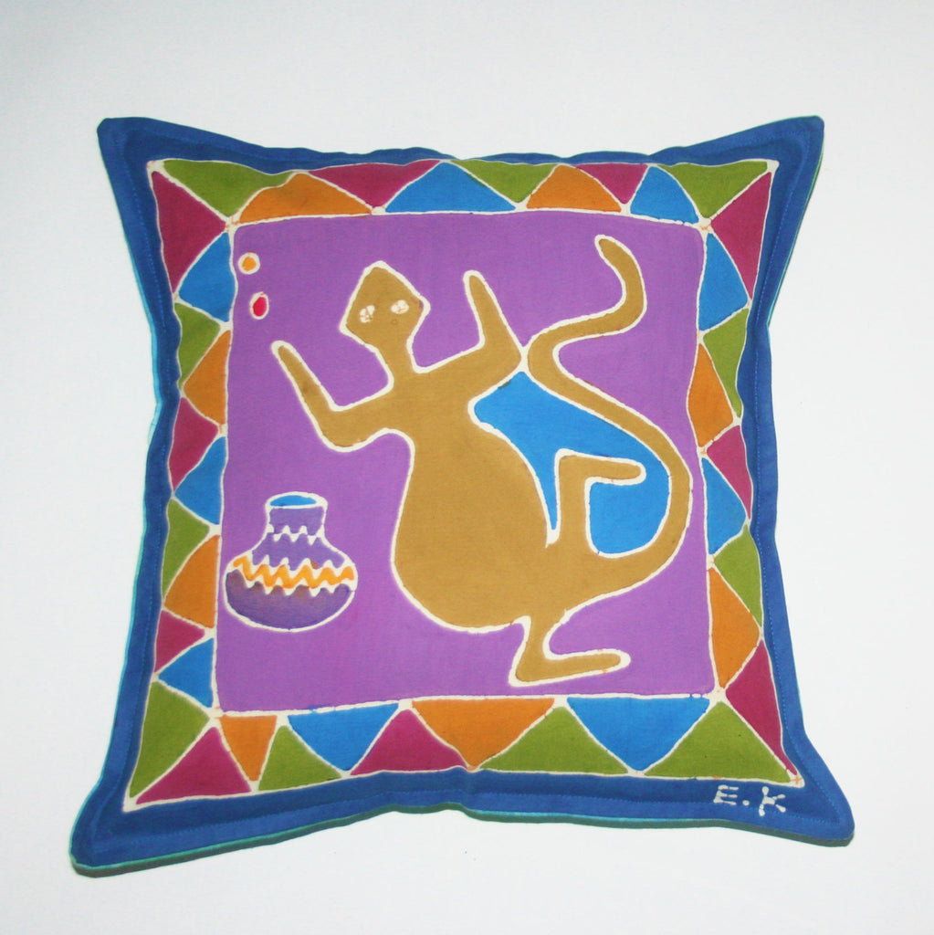 "African Batik Pillow Abstract Iguana 18"" X 18"" - Cultures International From Africa To Your Home"