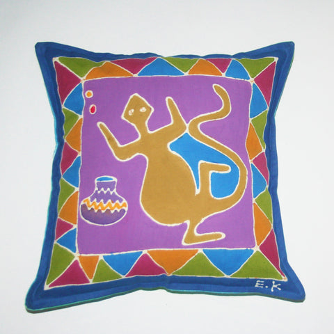 "African Batik Pillow Abstract Iguana 18"" X 18"""