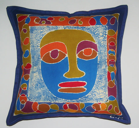"African Batik Pillow Tribal Mask Abstract 18"" X 18"""