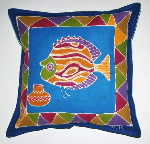 "African Batik Throw Pillow Blue Red 18"" X 18"" - Cultures International From Africa To Your Home"