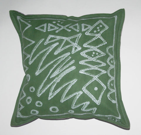 African Batik Throw Pillow Green Abstract Tribal Design