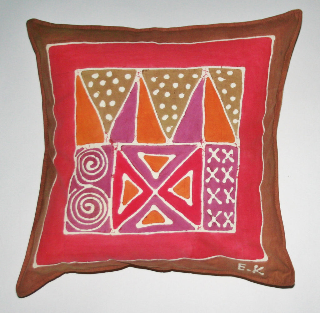 "African Batik Throw Pillow Abstract Tribal 18"" X 18"""