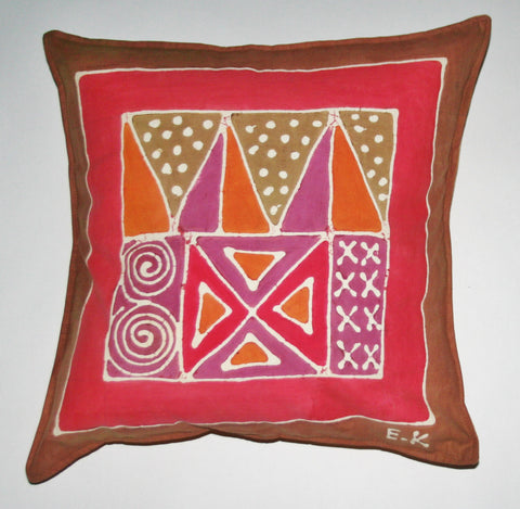 "African Batik Throw Pillow Abstract Tribal 18"" X 18"" - Cultures International From Africa To Your Home"