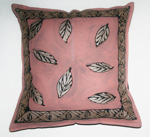 "African Pillow Hand Painted Falling Leaves Pink Silver Black 19"" X 19"""