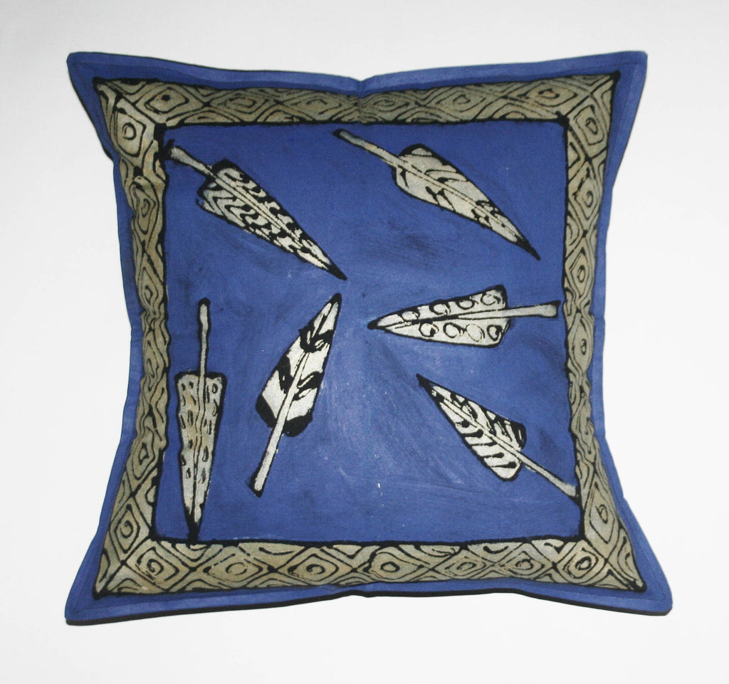 "African Pillow Periwinkle Silver Feathers on Blue 19"" X 19"" - Cultures International From Africa To Your Home"