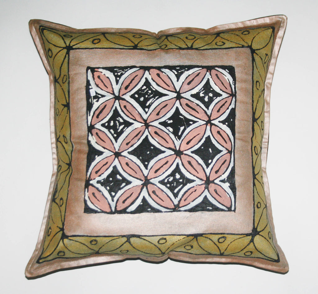 "African Pillow Geometric Gold Bronze Black 19"" X 19"" - Cultures International From Africa To Your Home"