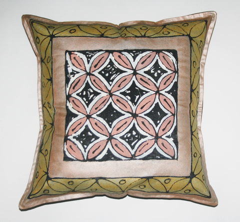 "African Pillow Geometric Gold Bronze Black 19"" X 19"""