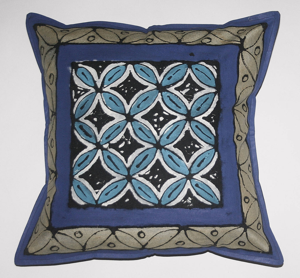 "African Pillow Geometric Purple Silver Blue White 19"" X 19"""