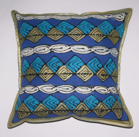 "African Pillow Geometric No. 2 Diamond Blue Gold White 19"" X 19"" - Cultures International From Africa To Your Home"