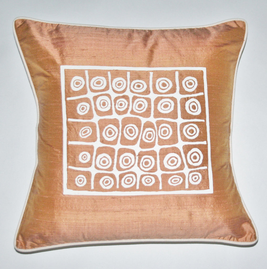 African Silk Pillow Golden Tan Color With White Abstract Repeat Tribal Symbols Handwoven Raw Silk - Cultures International From Africa To Your Home