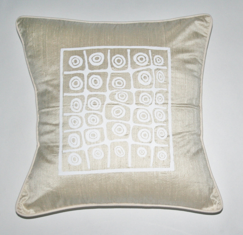 African Silk Pillow Cream and White Abstract Bushman Design - Cultures International From Africa To Your Home