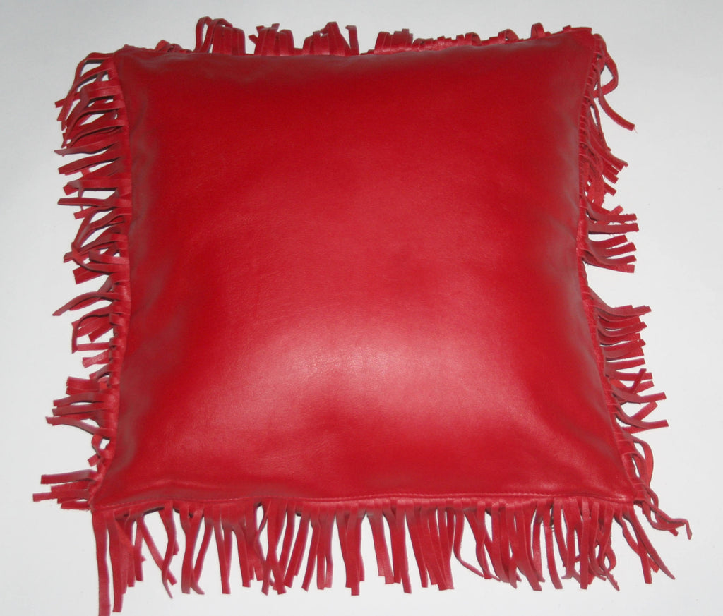 Red Leather & Suede Pillow Cover With Fringe Full Grain African Bovine Leather