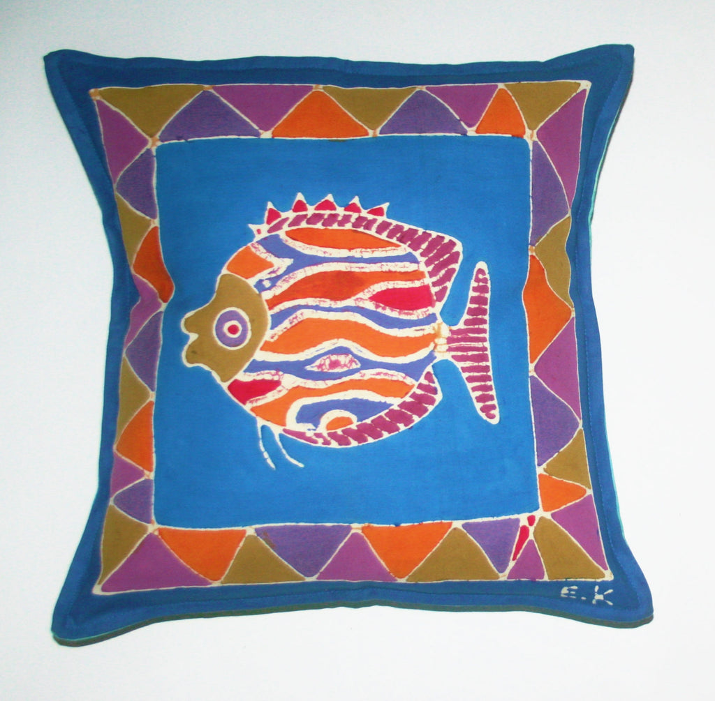 "African Batik Pillow Tribal Fish 18"" X 18"" - Cultures International From Africa To Your Home"
