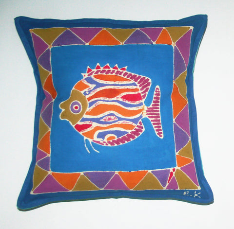 "African Batik Pillow Tribal Fish 18"" X 18"""