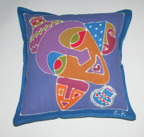 "African Batik Pillow Abstract Mask 18"" X 18"""