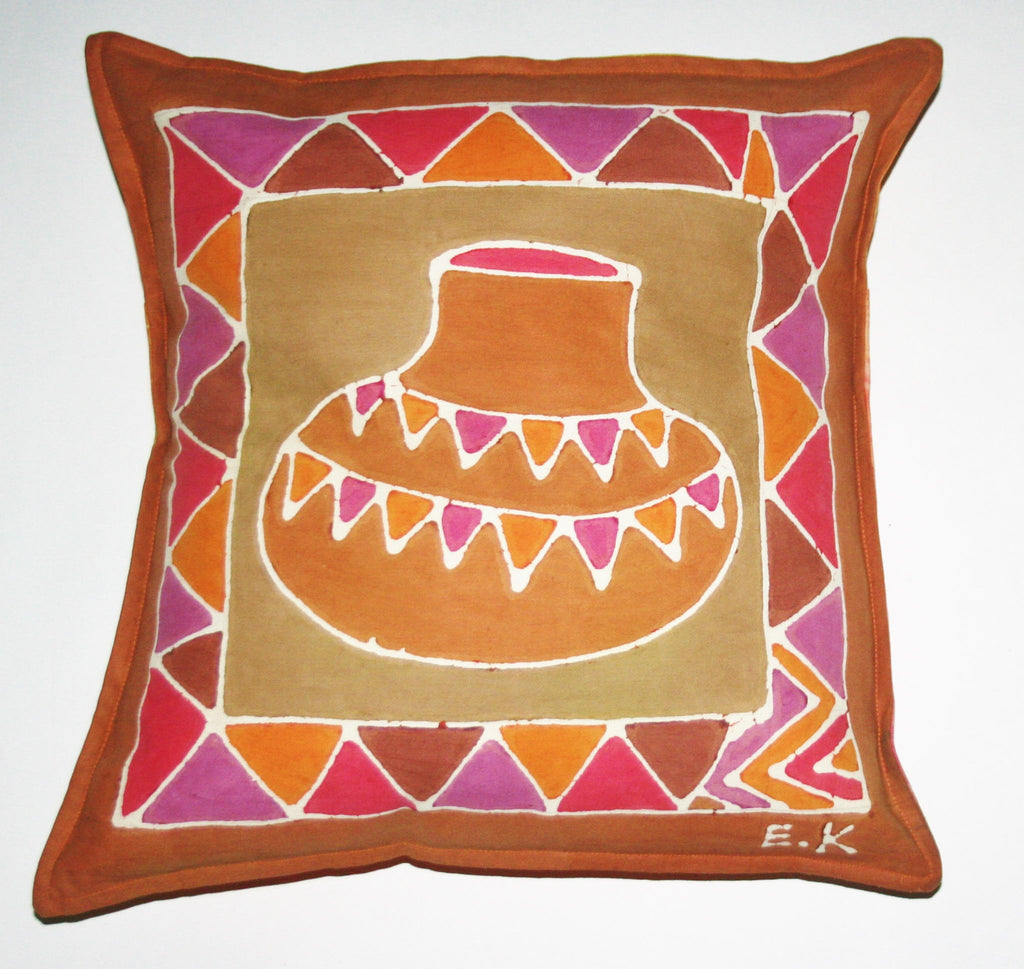 "African Batik Pillow Tribal Pot 18"" X 18"" - Cultures International From Africa To Your Home"