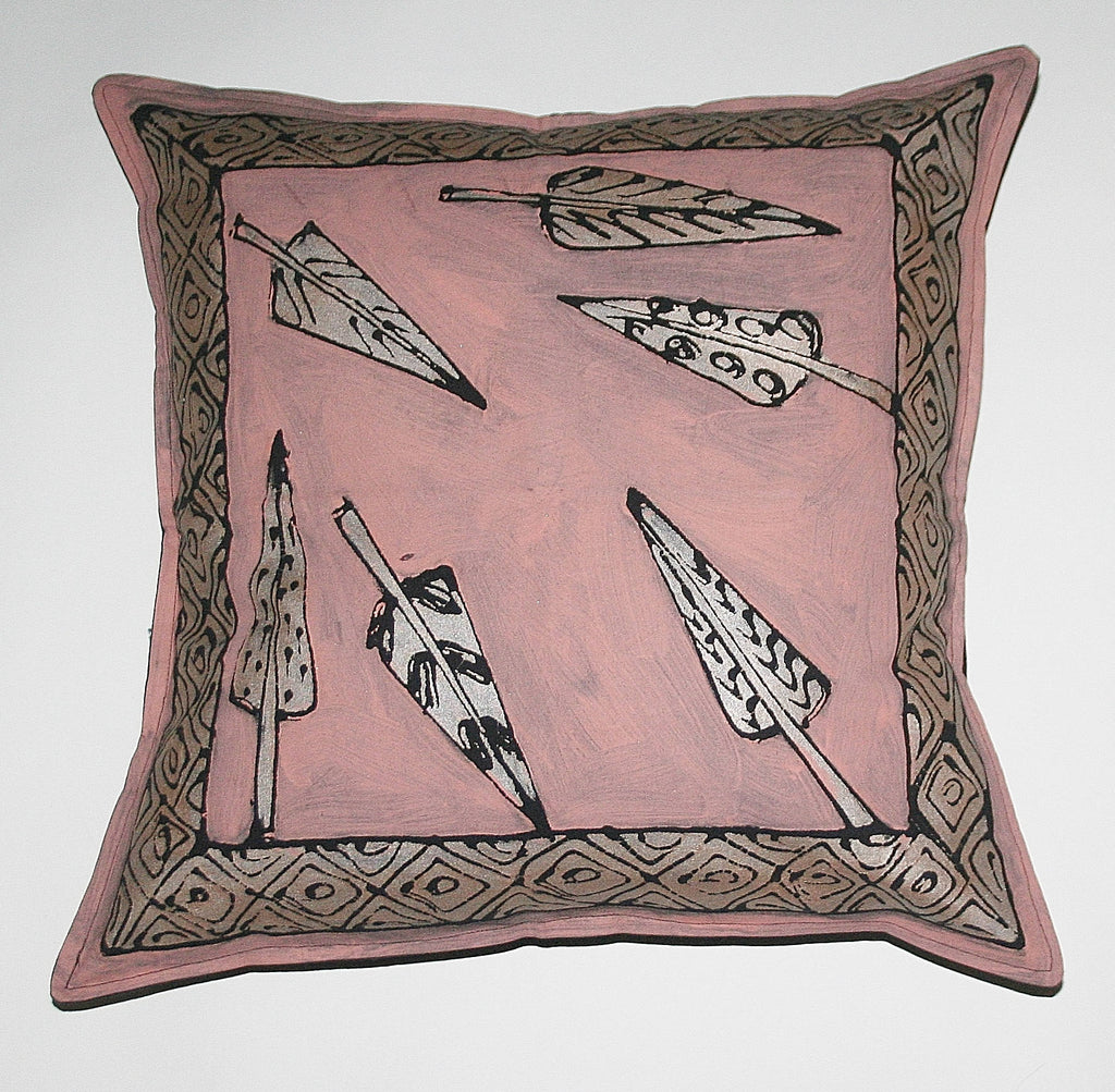 "African Pillow Silver Feathers Pink Silver Black 19"" X 19"" - Cultures International From Africa To Your Home"