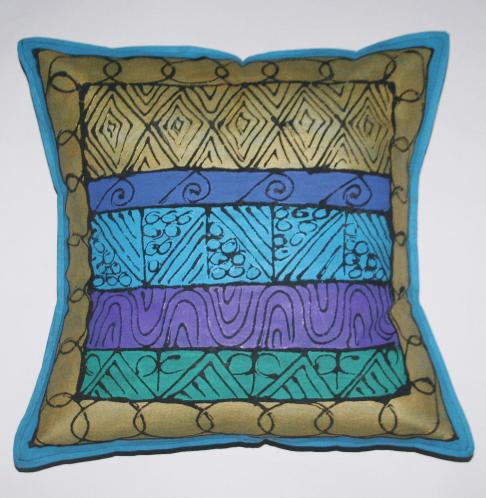 African Pillow Geometric Gold Blue Green Purple Hand Painted in South Africa Xhosa Tribal Textile  Fair Trade Free  Shipping U.S. - Cultures International From Africa To Your Home