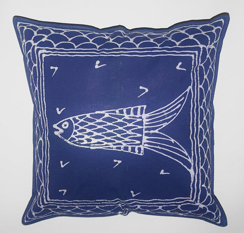"African Pillow Hand Painted Fish Blue 19"" X 19"""