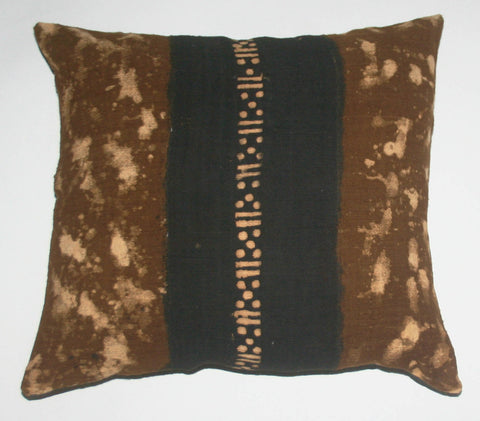 African Mud Cloth Bogolon Pillow Cover Brown Black White Tie-Dyed - Cultures International From Africa To Your Home